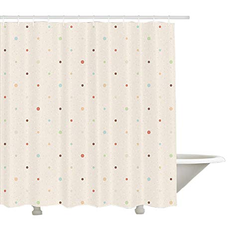 """Yeuss Cortina de ducha de color crema, diseño de lunares con aspecto vintage de Grunge simétrico, retro, tela para decoración de baño con ganchos, color crema multicolor, 152 x 182 cm, poliéster, Ivory/Multicolor, 60""""x72""""(150cmx180cm)"""