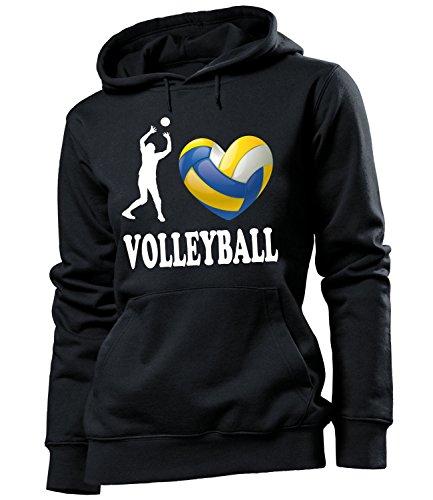 Sport - I Love Volleyball - HOODIE Donna Felpa con cappuccio Taglia S to XXL vari colori Noir