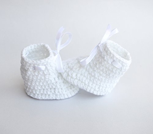 Love Crochet Art Crochet Baby Woolen Booties for 0-6 Months - White