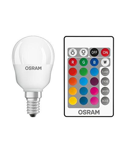 Osram LED Star+ Classic P RGBW Lampe, in Tropfenform mit E14 Sockel, dimmbarkeit und Farbsteuerung per Fernbedienung, Ersetzt 25 Watt, Warmweiß - 2700 Kelvin, 1er-Pack -