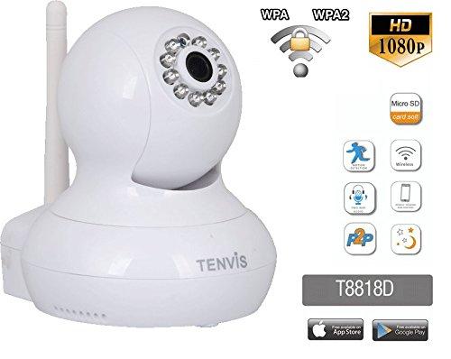 (Neuheiten 2018) Tenvis t8818d Kamera Sicherheit IP Wireless Ultra HD (1080P), 2.4 GHz mit bidirektionalen Audio, Netzwerk sicheren in WPA/WPA2, Überwachung Haus, mit Nachtsicht (Android/iOS) 2,4 Ghz Wireless-kamera