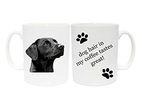 Labrador (Black) Mug Gift with choice of 6 captions (dog hair in my coffee taste great!)