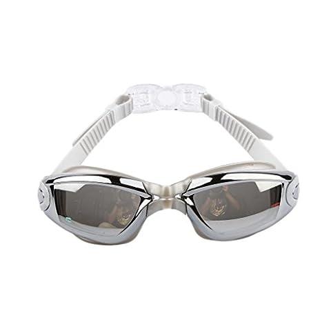 Silikon Wasserdichte Anti-Fog-Schwimmbrille Galvanik mit Ohrenstöpsel - Silber