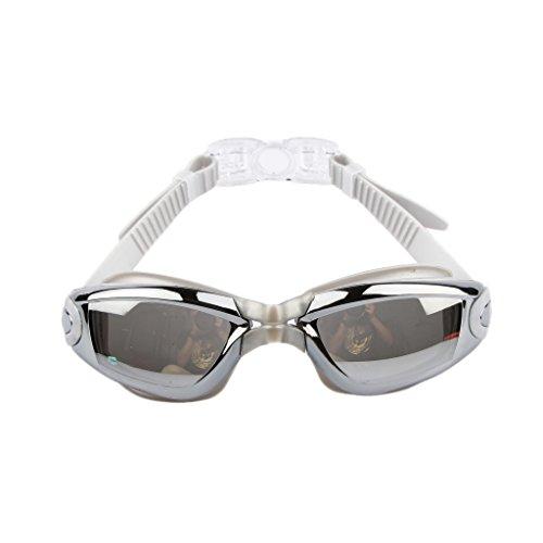 Silikon Wasserdichte Anti-Fog-Schwimmbrille Galvanik mit Ohrenstöpsel - Silber -
