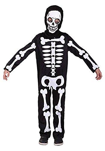 Taglia xl - 8-9 anni - costume - travestimento - carnevale - halloween - scheletro - zombi - mostro - morte - ossa - colore nero - bambino