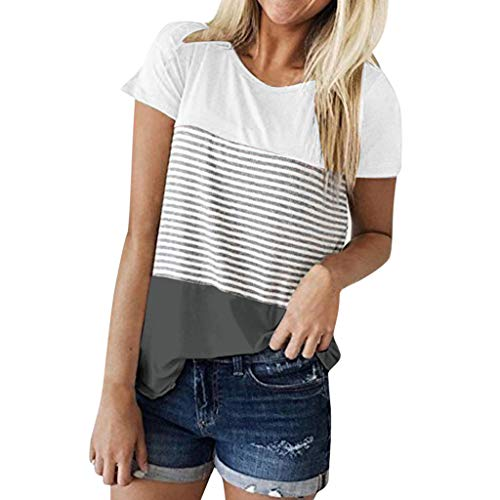 (TWIFER Kurzärmeliges Gestreiftes T Shirt Damen Kurzarm Triple Color Block Stripe T Shirt Lässige Bluse)