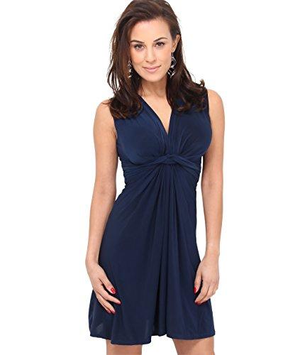 Plus Damen-abendmode Size (9354-NVY-18: Kleid Geknotet Gerafft (Marineblau, Gr.46))