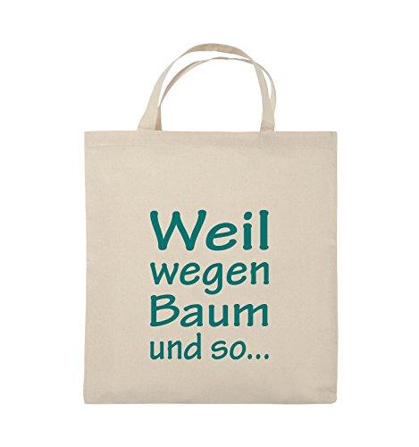 Comedy Bags - Weil wegen Baum und so - Jutebeutel - kurze Henkel - 38x42cm - Farbe: Schwarz / Pink Natural / Türkis