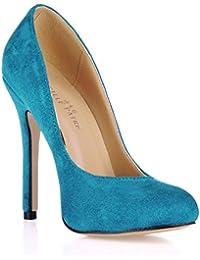 Best 4U® Zapatos de tacón alto de aguja de las mujeres de la suela de goma elástica de terciopelo punta estrecha...