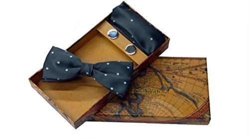 Blacksmith Polka Grey Bowtie, Cufflink, Pocket Square Set for Men