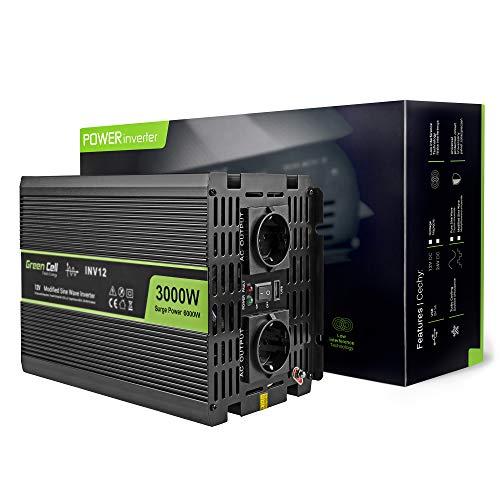 Green Cell® 3000W Spannungswandler Wechselrichter DC 12V auf AC 230V Inverter für Auto inkl. Stecker für Kfz-Zigarettenanzünder mit USB-Ladeanschluss und Direktanschluss an Autobatterie