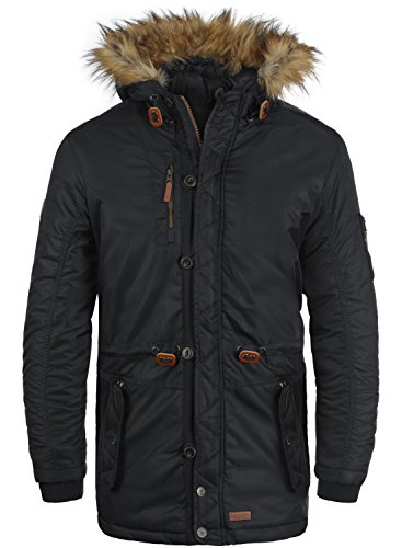 BLEND Eugen Herren Parka lange Winterjacke mit Kapuze und abnehmbaren Kunstfellkragen, Größe:M, Farbe:Black (70155)