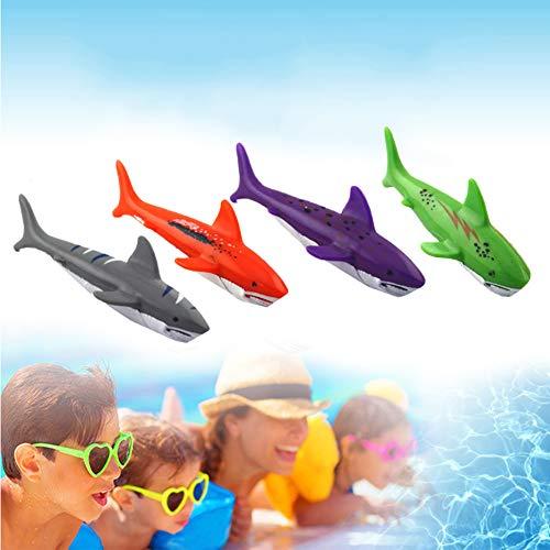 pittospwer 4 Stücke Kunststoff Tauchen Spielzeug Pool Tauchen Hai Wasser Werfen Torpedo Kinder Lustiges Geschenk -