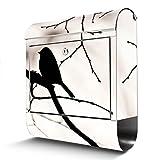 BANJADO Edelstahl Briefkasten mit Zeitungsfach, Design Motivbriefkasten, Briefkasten 38x43,5x12,5cm groß Motiv Früher Vogel