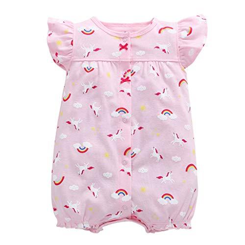 MRULIC Baby Strampler Mädchen und Jungen Einteilige Cartoon Gestreiften Bodysuit Kurzarm Overall Sommer Jumpsuit(Rosa,18-24 Monate)