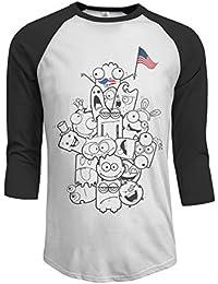 86a14abeb4370 4ème du mois de juillet drôle drapeau américain Moustache Meowica hommes manches  raglan de baseball t-shirts 4ème week-end de juillet t-shirt…