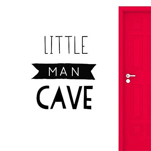 yiyiyaya Little Man Cave Sign Wandtattoos Dekoration Für Baby Jungen Kinderzimmer Dekor Kinder Spielzimmer Kunstwand schwarz 56x64 cm - Cave Temple