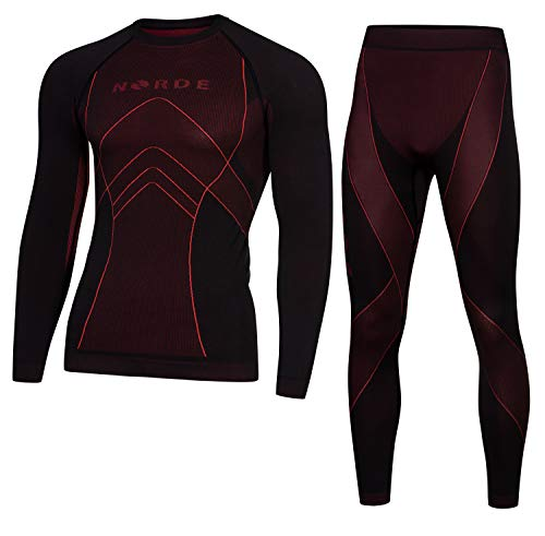 Norde THERMOTECH Herren Funktionswäsche Thermoaktiv Atmungsaktiv Base Layer Set Outdoor Radsport Running (Schwarz/Dark Red, L)