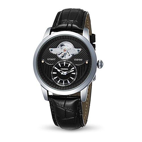 Time100 Orologio per uomo in pelle di vitello da polso, realizzato a mano, cassa in acciaio INOX, (Nero)