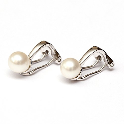 Idin Ohrclips - Perlen aus Süßwasserkulturen Sterlingsilberclips (Perle: ca. 6mm, mittlerer Lüster)