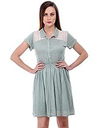 Bonhomie Women Pistachio Green Lace Yoke Collar Midi Dress