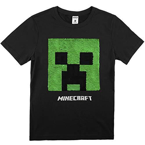 Minecraft Camiseta Niño Manga Corta con Lentejuelas Reversibles, Top Negro de Algodón con Motivo Pixelado de Creeper, Producto Oficial Regalos para Chicos y Adolescentes (13/14 años)