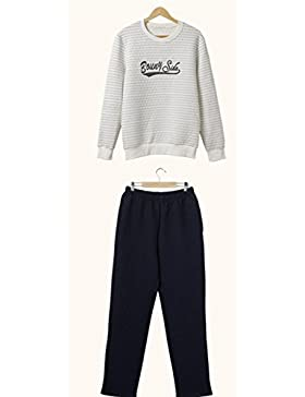 DMMSS Uomo girocollo in laminato cotone Stripe Woven pigiama Set , xxl