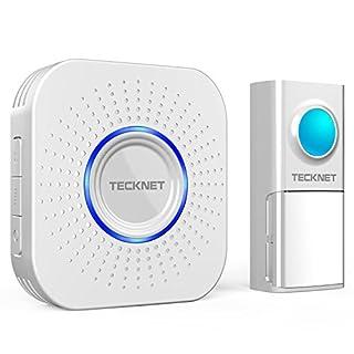 TeckNet Wireless Doorbell, Weatherproof Wall Plug-in Cordless Doorbell Door Chime IP55 Weatherproof at 150M Range With 58 Chimes, 4 Levels of Adjustable Volume & Visual Alerts