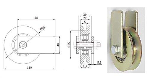 Zabi Fahrbahnrollen metallrollen für T-Profil d = 89 mm mit Gehäuse Transportrollen