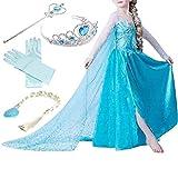 Yigoo ELSA Kleid Eiskönigin Prinzessin Kostüm Kinder Glanz Kleid Mädchen Weihnachten Verkleidung Karneval Party Halloween Fest mit Krone 140