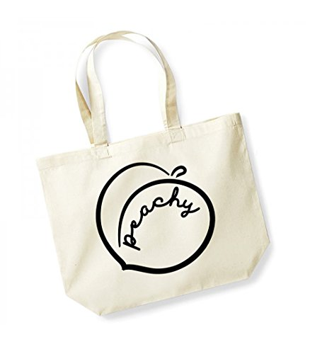 Peachy - Large Canvas Fun Slogan Tote Bag Natural/Black