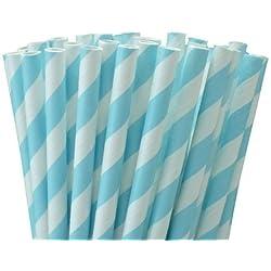 NiceButy 25 pajitas de papel rayas azul estilo retro y calidad duradera