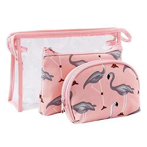 Ljwjialo Wasserdicht Reisen Make-up Taschen, Home Decor Canvas Veranstalter Tasche, Lagerplätze Korb für Erwachsene Make-up Set von 3 Pack Reise (Color : Pink, Size : M) -