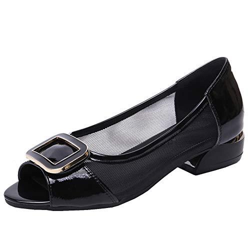 Jamron Mujer Cuero & Malla Peep Toe Sandalias Pumps Moda Tacon Bajo Hebilla Bailarinas Zapatos Negro...