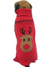 Fossrn Ropa Perro Navidad Suéter de Punto Abrigo Jersey de Reno Patrón