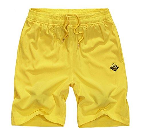 BININBOX® Herren Shorts Knielang Badeshorts Badehose Surfshorts beach Pants Surfwear Sommer Gelb