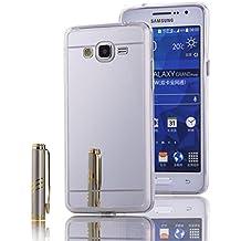 Funda Samsung Galaxy Grand Prime, LXHGrowH [Ultra Delgada] Carcasa con espejo para Samsung Galaxy Grand Prime Cover silicona tpu protectora Plata - LXHGrowH Cubierta