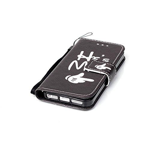 iPhone 5 Wallet Hülle,iPhone 5S Case - Felfy PU Ledertasche Luxe Bookstyle Ledertasche Muster Niedlich Bunte Malerei Retro Painted Abdeckung Schutzhülle Ablösbar Handliche Strap Flip Standfunktion Mag He's Mine