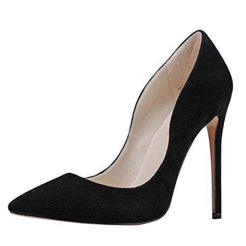 MERUMOTE , Chaussures à talon fin femme Noir - Black-Suede