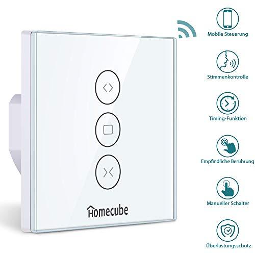 Homecube Rolladen Zeitschaltuhr,Smart Vorhang Schalter,WiFi Rolladenschalter,Smart Jalousien Schalter mit Touch Panel, Alexa und Google Assistant,APP Fernbedienung und Timing Funktion (1 Pack)