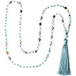 amorwing mano de nudo borla de cuentas Mala 108mala cuentas meditación mala collar joya de la yoga