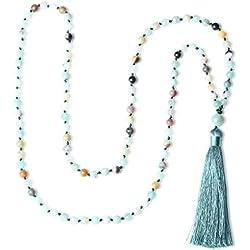 COAI® Collar Joyería de Yoga de Meditación Anudada a Mano 6mm Amazonita 108 Mala Cuentas con Borla