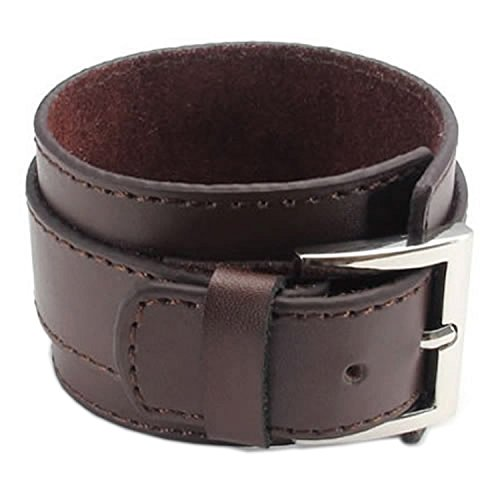Pulsera ancha de cuero - SODIAL(R) pulsera de joyeria de hombres y mujeres, brazalete ancho de cuero, hebilla, marron