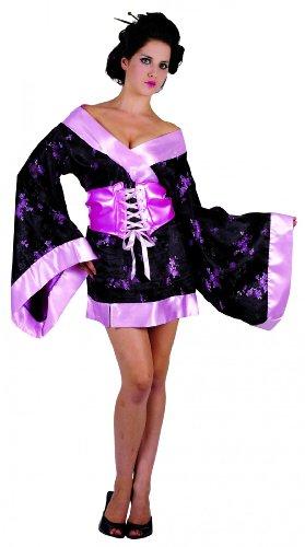 Generique - Geisha-Kostüm für Damen Floral schwarz-rosa M / - Florale Geisha Kostüm