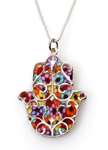 Pendentif Main de Fatma Protectrice avec motif Fleur de Lys - Bijoux Argent et Fimo - Cadeau symbolique Millefiori