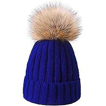 Fashion genitore-bambino invernali Chunky maglia cappello donna bambina  grande 15 cm rimovibile con pon c8c3ec1e0b8b