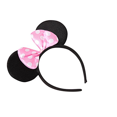 se Minnie-Maus Ohren mit Schleife - Kostüm für Erwachsene & Kinder in 4 verschiedenen Farben - perfekt für Fasching, Karneval & Cosplay - Haarreif Rosa ()