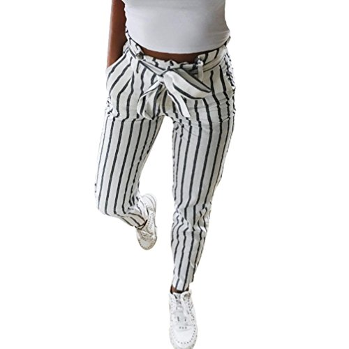 Coolster Damenhosen Elegante Gestreifte Hohe Taille Stretch-Hosen beiläufige Streetwear-Hosen (Weiß, M)