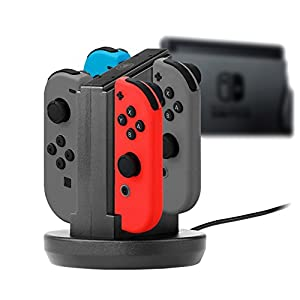 snakebyte Switch FOUR:CHARGE – 4-in-1 Ladestation – zum Aufladen von Nintendo Switch Joy-Cons – mit LED Ladestatus-Anzeige