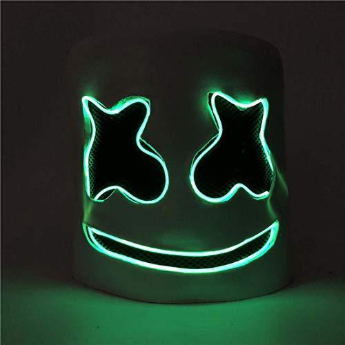 K-Y YK Marshmallows Adult DJ Mask Cos Halloween Props Music Festival Helmet Cosplay Costumes Marshmallow DJ Funny Headgear (Green Light DJ mask) (Halloween Goonies Sloth Maske)